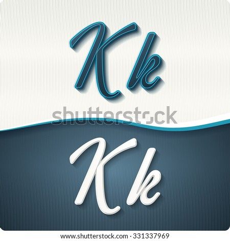 """The stylish white and blue italic letters of the alphabet, three-dimensonail, with shadows. The capital letters """"K"""" and lowercase """"k."""" Set, vector EPS10. - stock vector"""