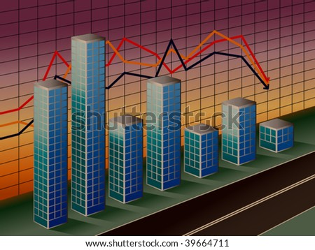 The stylized business histogram of financial crisis - stock vector
