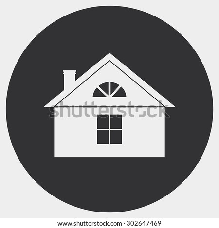 The stylized image of a country house. Bright silhouette on a dark background. - stock vector