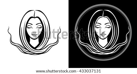The stylized portrait of the young beautiful girl with long hair. The linear isolated drawing. Black and white options. Vector illustration. - stock vector