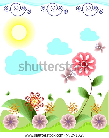 The stylized summer landscape with flowers, clouds and butterflies.