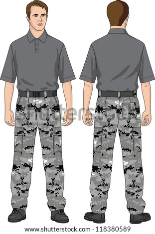 The suit for the man consists of trousers and a T-shirt - stock vector