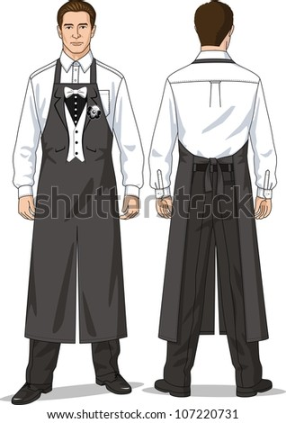 The suit for the waiter consists of a shirt, trousers and an apron - stock vector
