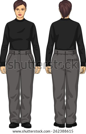 The suit for the woman consists of a jumper and trousers - stock vector