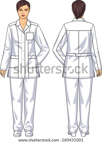 The suit medical for the woman consists of a jacket and trousers