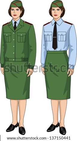The suit special for the woman consists jackets, shirts and skirts - stock vector