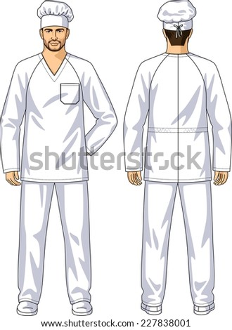 The suit summer for the baker consists of a jacket and trousers - stock vector