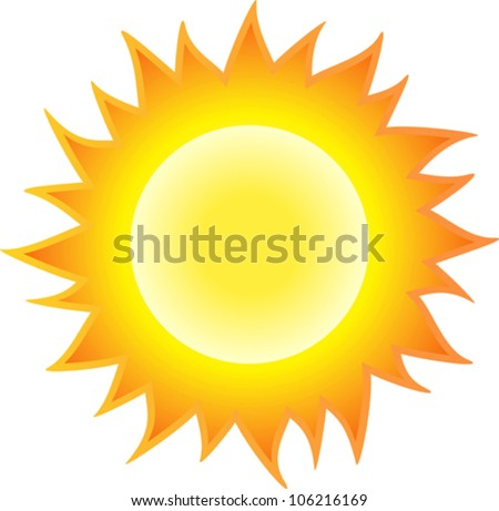 The sun burning like flame. Isolated on white background. Vector illustration - stock vector
