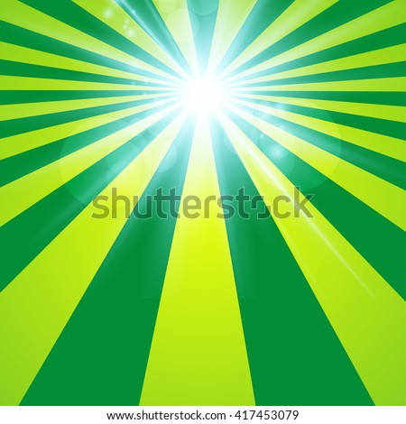 The sun radiation retro green background  vintage - stock vector