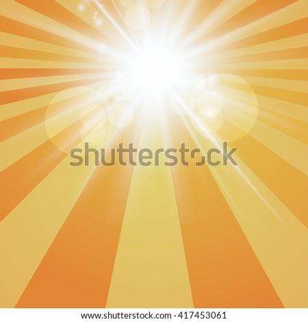 The sun radiation retro orange background  vintage - stock vector