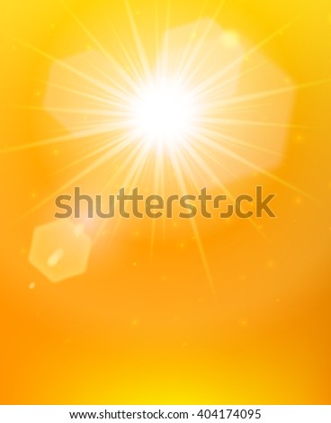 The sun rays poster bright sunlight with flares on the abstract orange background vector illustration