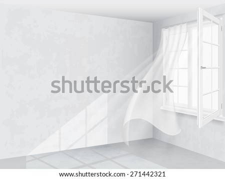 The sun's rays pass through the window and the curtain and illuminate the wall and floor. Vector illustration. - stock vector
