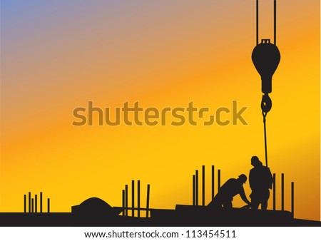 The sunset background with silhouettes of construction workers - stock vector