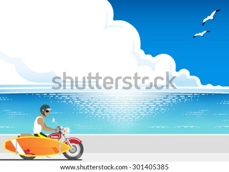 The surfer riding with a surfboard on his motorcycle - stock vector