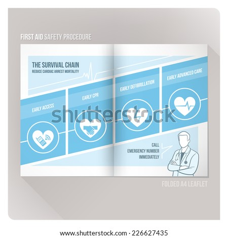 The survival chain CPR and first aid medical flyer - stock vector