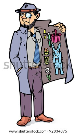 The suspicious man is selling the forbidden stuff. - stock vector
