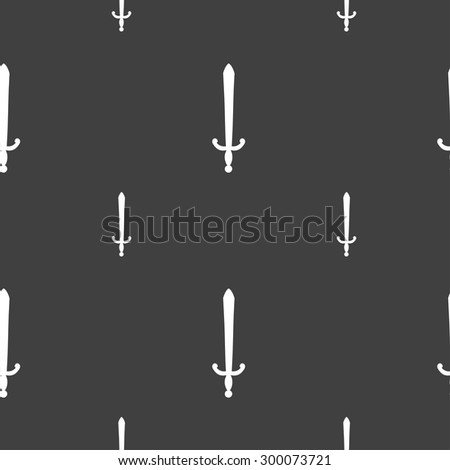the sword icon sign. Seamless pattern on a gray background. Vector illustration - stock vector