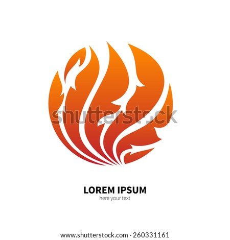 The symbol of fire, flame. Beautiful decorative design element. Unusual fire pattern. Vector illustration. Object isolated on white background. - stock vector