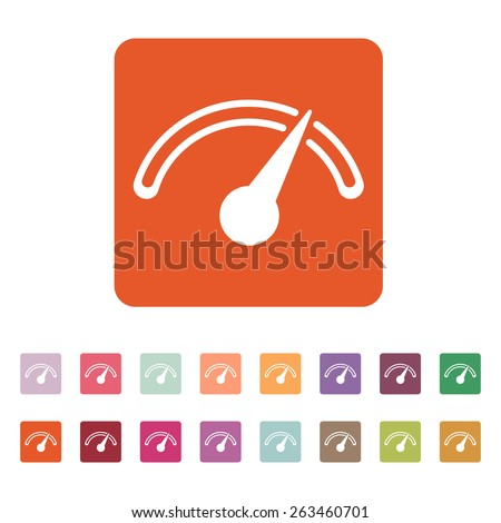 The tachometer, speedometer and indicator icon. Performance measurement symbol. Flat Vector illustration. Button Set - stock vector