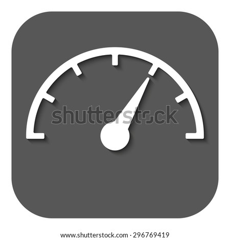 The tachometer, speedometer and indicator icon. Performance measurement symbol. Flat Vector illustration. Button - stock vector