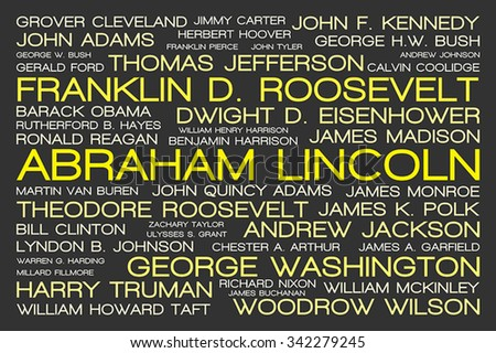 The tag cloud showing the names of all presidents of United States of America in history