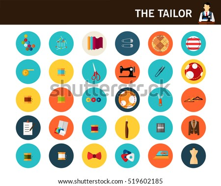 The tailor concept flat icons.