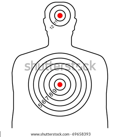 The target for shooting at a silhouette of a man