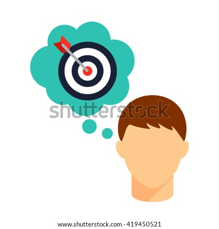 The target icon. Man reflects on the goal. Flat vector on a white background - stock vector