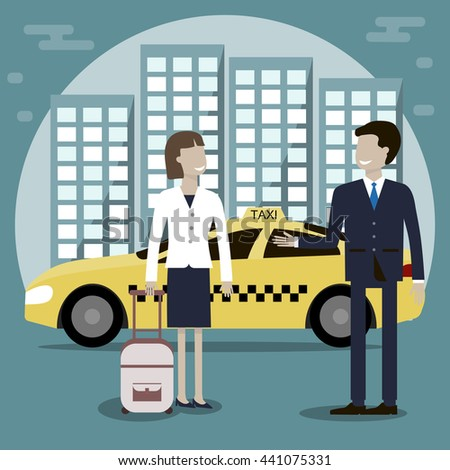 The taxi driver offers a woman passenger services. Yellow taxi cab in the background of the city. Vector illustration flat design - stock vector