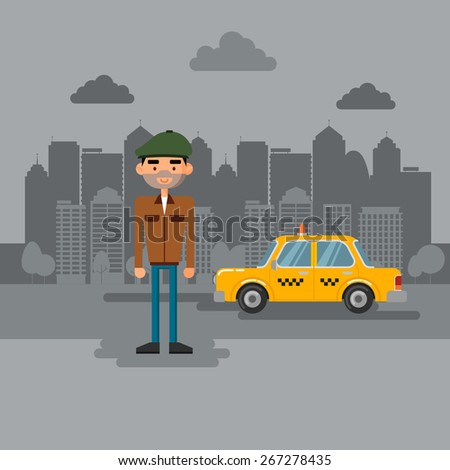 The taxi driver on the background of the city.