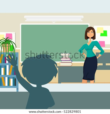 the teacher asks in the classroom, cartoon. The boy raises his hand to answer in class. Colorful design. Vector illustration