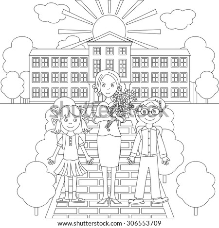 The teacher with flowers and children near the school. Coloring book with a contour. - stock vector