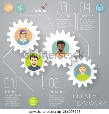The teamwork vector infographic  template.  - stock vector