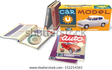 The technical magazines, the professional books and the car model are placed on a white background. This is the editable vector EPS which has a version v10.0. Enjoy!  - stock vector