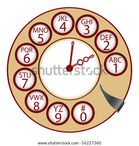 the telephone clock concept, abstract vector art illustration - stock vector