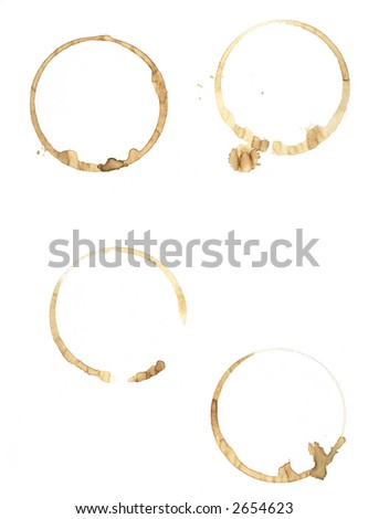 The tell tale signs of a morning caffeine fix spattered on plain file paper. - stock vector