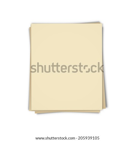 the template made out of blank sheets of paper / the blank sheets of papers / the blank paper template