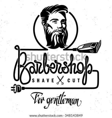 The template of poster to barbershop. Hand drawn lettering - stock vector