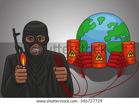 The terrorist threat to blow up the whole world. - stock vector