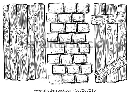 The texture of wood and brick - hand drawn vector illustration, isolated on white - stock vector