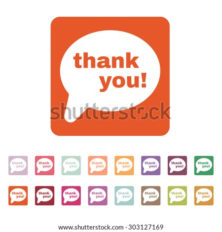 The thank you  icon. Thanks symbol. Flat Vector illustration. Button Set - stock vector
