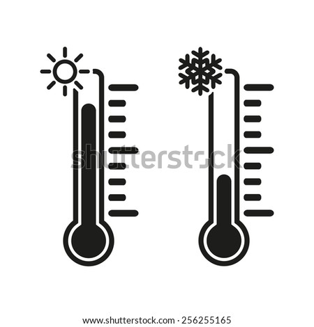 The thermometer icon. High and Low temperature symbol. Flat Vector illustration - stock vector