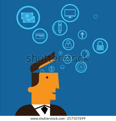 The thinking of business man  - stock vector