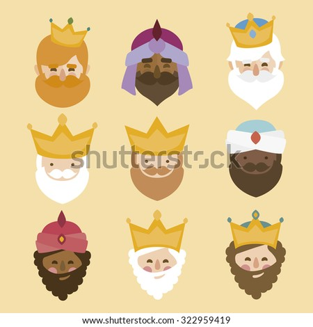 the three kings of orient. 3 magi. icons vector set - stock vector