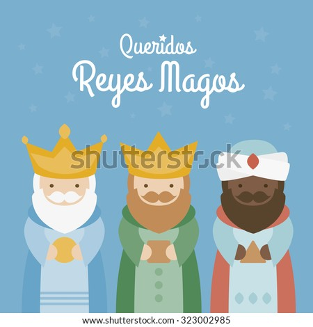 the three kings of orient on a blue background. 3 Magi - stock vector