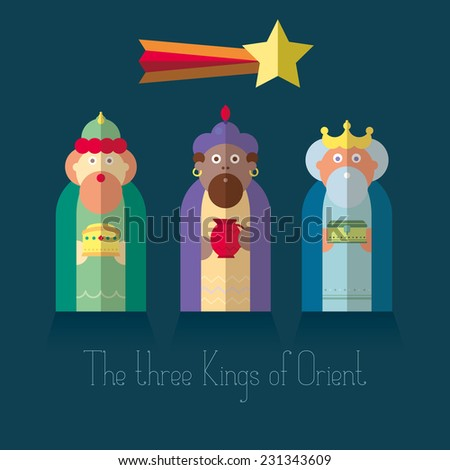 The three Kings of Orient wise men - stock vector