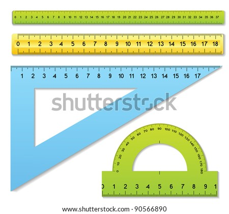 The three rulers and one protractor - stock vector