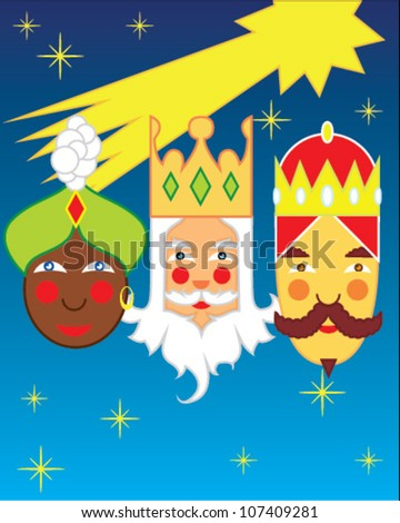 The three wise men Gaspar, Melchior and Balthazar faces on sky background with stars and comet - stock vector