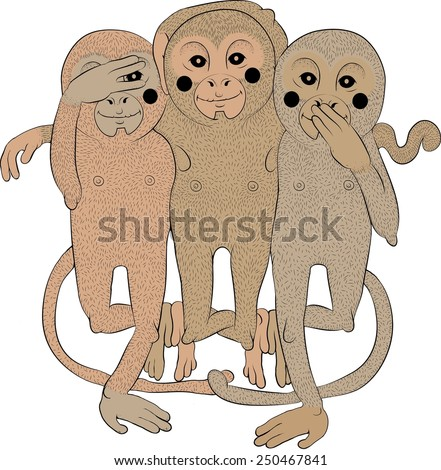 The three wise monkeys - stock vector
