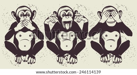 The Three Wise Monkeys (also called the Three Mystic Apes) - stock vector